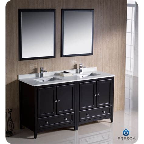 "Rustic Fresca Oxford 60"" Traditional Double Sink Bathroom"
