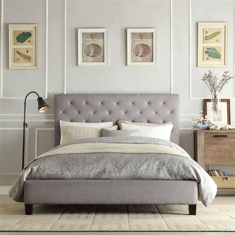 gray tufted bed size gray linen upholstered platform bed with button