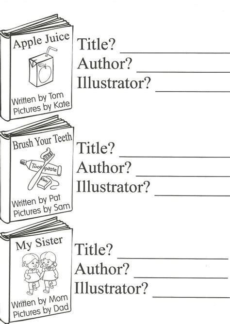 parts of a book title author illustrator 1st grade