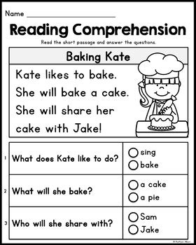 kindergarten reading comprehension passages set