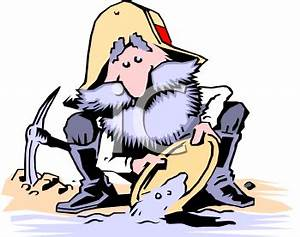 Royalty Free Clipart Image: Old Prospector Panning for Gold