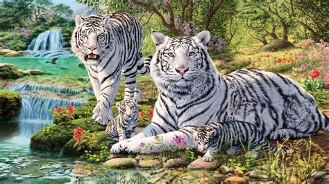 Waterfalls Wallpaper With Animals - animals white tiger and two cubs jungle waterfall