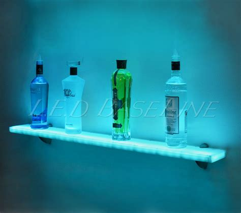 quot floating wall mounted bar shelf with color changing l