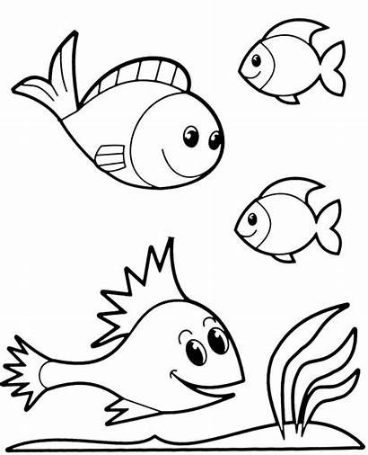 Fish Coloring Printables Four Water Pages Easy