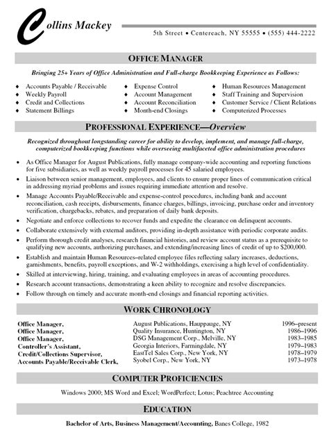office manager resume resumes sle resume