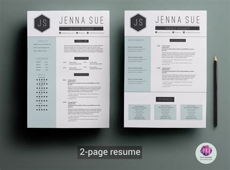 Resume Template 2 Pages by 2 Page Resume Template Resume Templates Creative Market