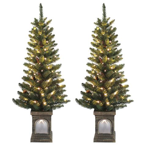 set of 2 pre lit 4ft 120cm green pine cone christmas