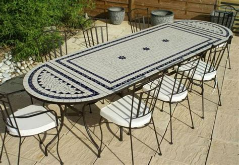 table jardin mosaique ovale 230cm table rectangle plus consoles c 233 ramique blanche 2 lignes et