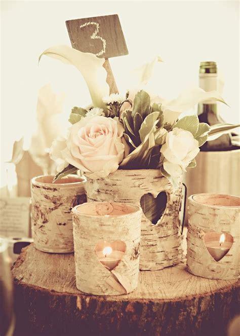 ideas  rock  winter wedding  birch centerpieces