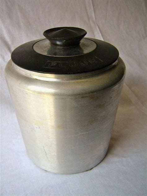 kitchen flour canisters aluminum flour canister by seriousvintageyall on etsy