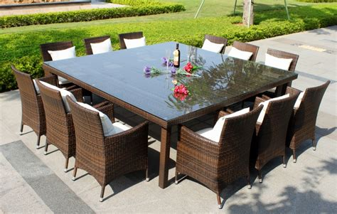 Oxford 12 Seater Wicker Rattan Dining Set Outdoor