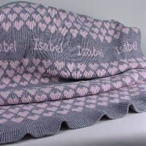 Personalized Knit Baby Blanket - Pink & Gray