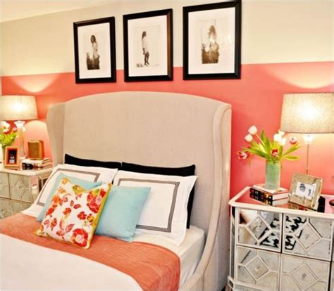 Coral Color Bedroom Accents by Decorating With Coral Centsational