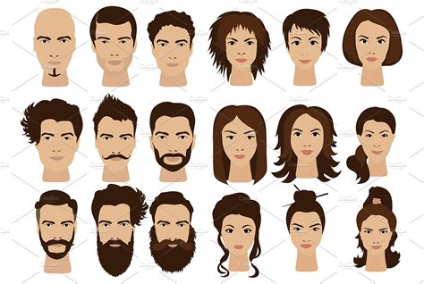 computer match hairstyle  face shape man hair woman girls faces icons graphics creative