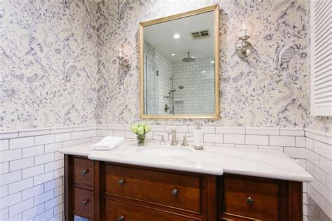 french inspired blue  white bathroom  toile