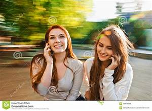 Girl Friends Talking With Phone Stock Photo - Image of ...