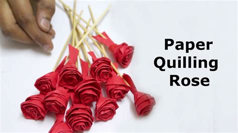 paper quilling rose flowers step  step youtube