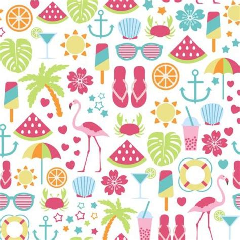 Beach Summer Holiday Pattern Seamless Vector 05 Free Download