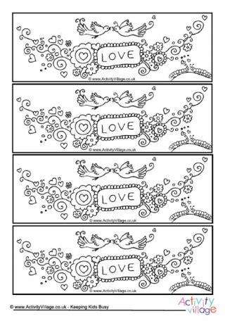 valentines day doodle colour pop colouring bookmarks