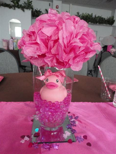 baby girl shower centerpieces water gems ordered from ebay vases and mirrors from