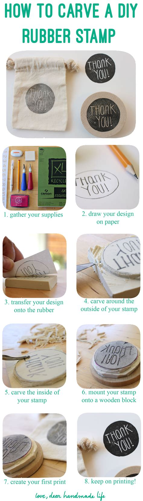 How To Make A Diy Carved Rubber Stamp  Dear Handmade Life