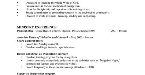 sle of a pastors resume sle resumes for senior