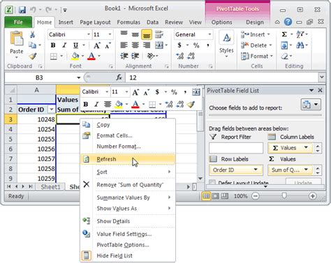 learn excel pivot tables ms excel 2010 how to refresh a pivot table