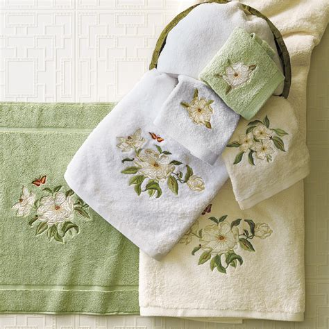 magnolia embroidered towels gumps