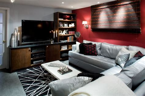Candice Olson Designed Living Room Red Feature Wall