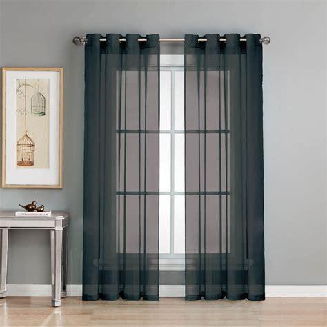 Black And Curtain Panels by Window Elements Sheer Sheer Voile Black Grommet