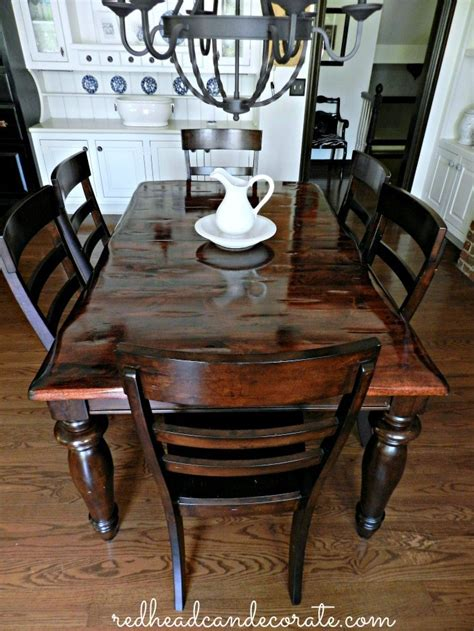 diy refinished dining table redhead  decorate