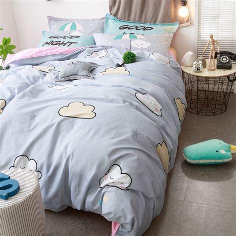Brief Grey Bedding Set 100% Cotton Duvet Cover Bed Sheet