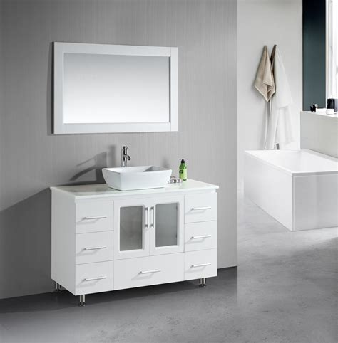 designer bathroom vanity stanton 48 inch white bathroom vanity porcelain vessel sink