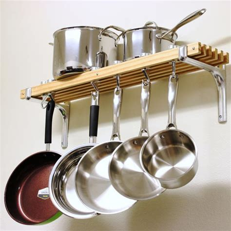 pots pans hanging rack hang racks bookshelf pot pan hanger wall kitchen holder hooks storage cookware mounted shelves holders