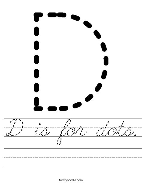 dots worksheet cursive twisty noodle