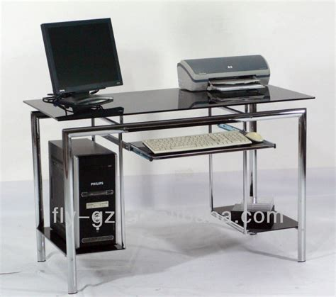glass desk for sale black and chrome computer desk popular glass high quality