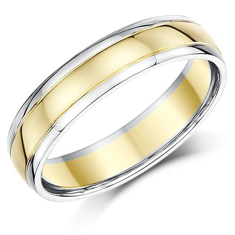 two colour gold wedding ring 5mm 9ct two colour gold court shape wedding ring band 9ct 2 colour gold at elma uk jewellery