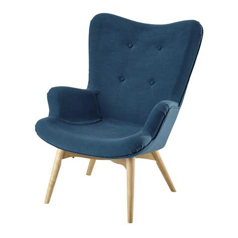 fauteuil vintage en tissu bleu petrole iceberg maisons du monde