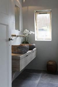 Plan De Toilette Bois : plan de toilette et vasques rondes en pierre ~ Teatrodelosmanantiales.com Idées de Décoration