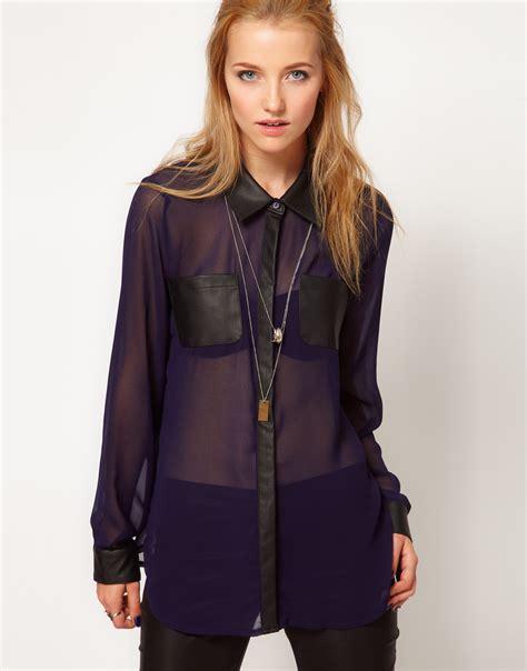 sheer chiffon blouse stylestalker light sheer chiffon blouse in blue lyst
