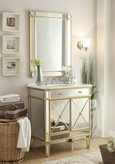 Bathroom Vanity With Sink And Mirror by Adelina 32 Inch Mirrored Gold Bathroom Vanity Mirror