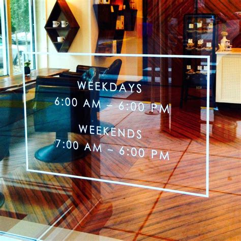 store front hours vinyl decal store sign store display