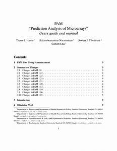 Pdf  Pam  U201cprediction Analysis Of Microarrays U201d Users Guide