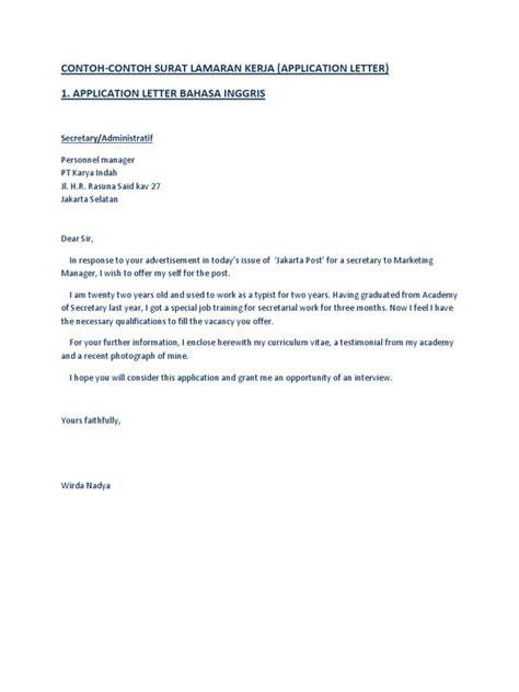 contoh an application letter