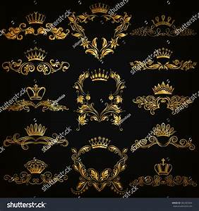 Set Gold Monogram Graphic Design On Stock Vector 362365964 ...
