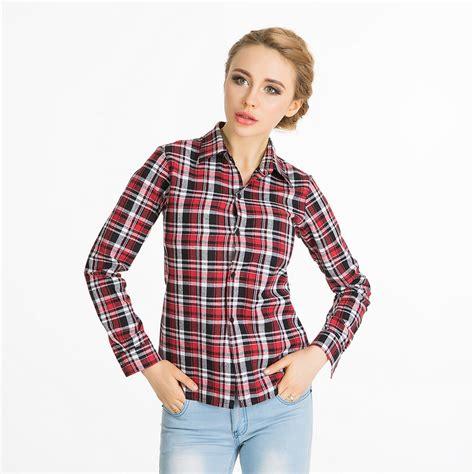 plaid blouse 2016 fashion slim plaid blouses