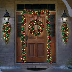 cordless pre lit 27 quot christmas wreath ornaments holiday home indoor outdoor new ebay