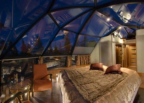 bedroom with glass roof sleep under the northern lights in the whimsical glass igloo village of hotel kakslauttanen