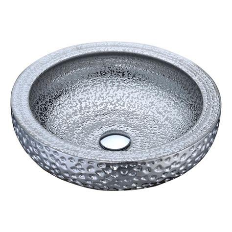 Silver Vessel Sink Home Depot by Anzzi Regalia Series Vessel Sink In Speckled Silver Ls