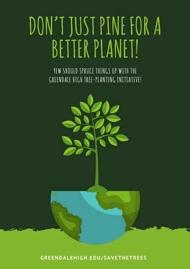 green tree environmental protection poster templates
